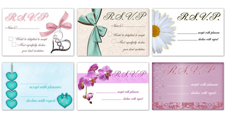 R.S.V.P. cards - set of 6 vector designs