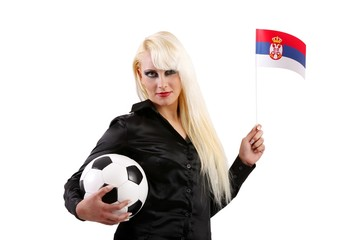 female football / soccer fan with football and flag (Serbia)