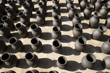 Many vases are drying at Pottery Square in Bhaktapur, Nepal.