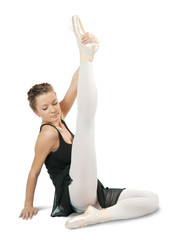 dancer in ballet shoes exercising