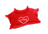 small red wool pullover with heart poster