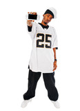 Handsome hip-hop young man with video game on white poster