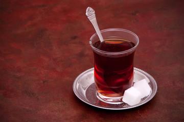 Turkish tea with sugar cubes