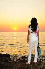 girl at sunset time