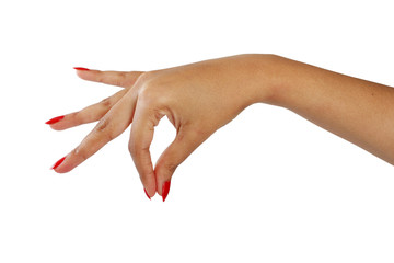 gesture female hand with red nail polish