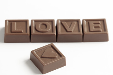 Love word made of chocolates