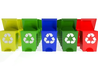 recycle bins in yellow,green,blue and red