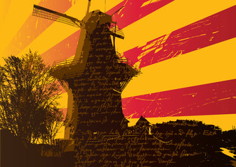 Background with windmill. Vector illustration.
