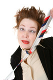 Depressed businesswoman strangle suicide  self tie poster