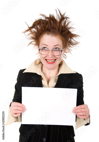 crazy businesswoman holding a whiteboard