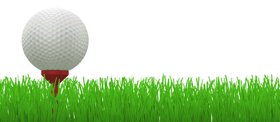 golf ball on red tee in grass - clipping path