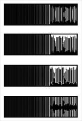 urban barcode banners, Isolated over  white background and group