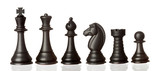 Black chess pieces in order of decreasing poster