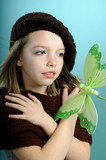 young model sharing love with green butterfly poster