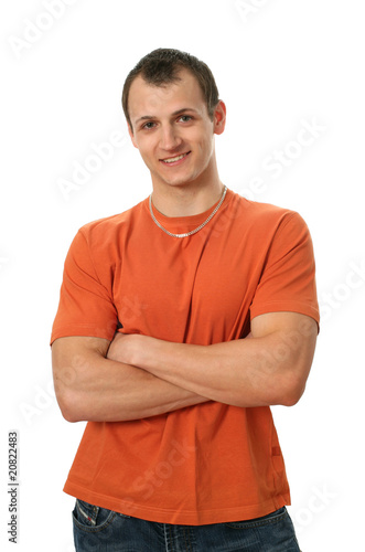 Young Man in Orange T-shirt