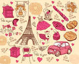 Fototapety Collection of symbols of Paris. Hand drawing