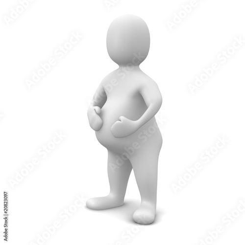 Fat man isolated on white. 3d rendered illustration.