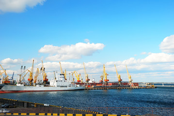 Trading port with cranes