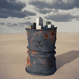 city on a barrel of toxic waste poster