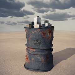 city on a barrel of toxic waste