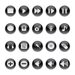 Gel icons in Black - Audio Equipment Buttons.