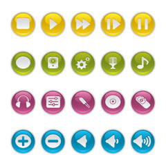 Gel icons in Colors - Audio Equipment Buttons.