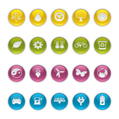 Gel icons in Colors - Ecology Buttons.