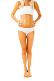 Beautiful female body. Isolated over white background. poster
