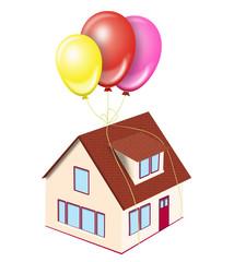 House on balloons
