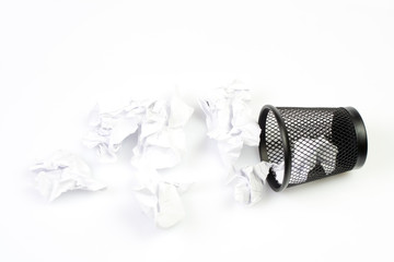 Mesh basket with paper garbage