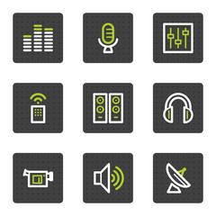 Media web icons, grey square buttons series