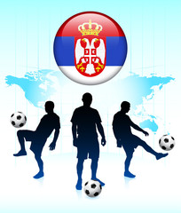 Serbia Flag Icon on Internet Button with Soccer Team
