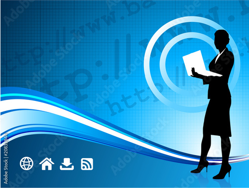 Wireless internet background with modern businesswoman