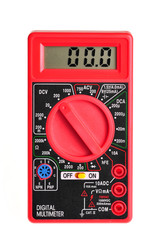 Electric multimeter with digital display on white