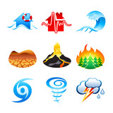 Natural disaster icons poster
