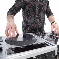 dj playing on dj mixer with isolated on white