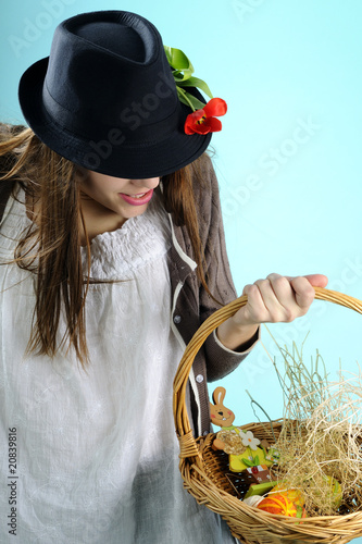 one girl choosing easter decorations