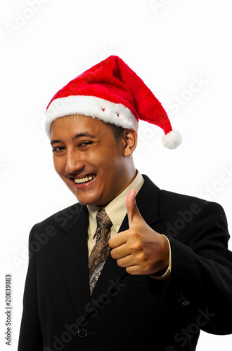 Businessman Wearing Santa Hat