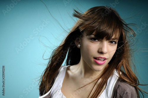 eauropean girl portrait with flying hair