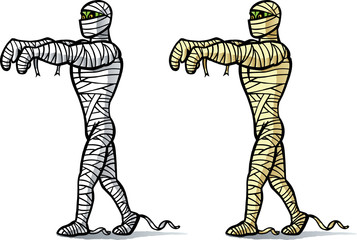Cartoon Mummy walking.