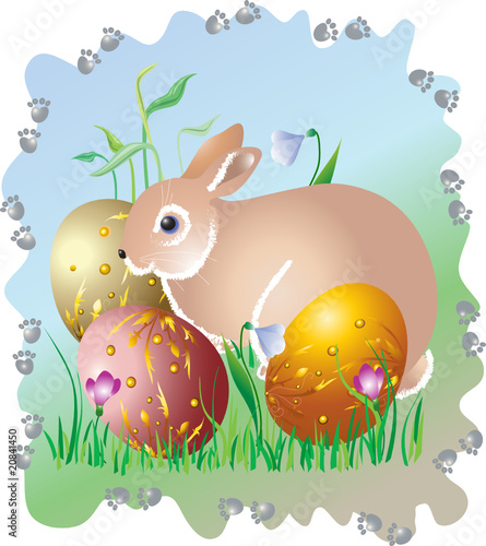""" An easter egg and an easter hare """