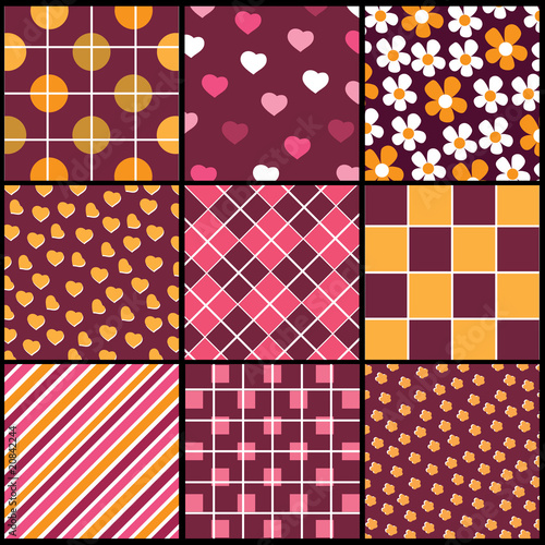 A set of 9 vector patterns for Valentines day