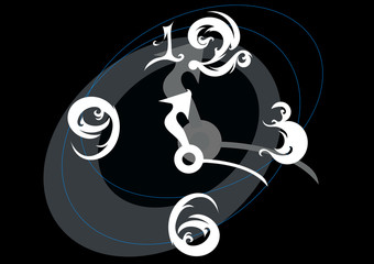 Abstract curled clock