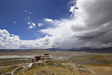 tibet: samding gompa under the blue sky