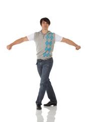 Single male tap dancer