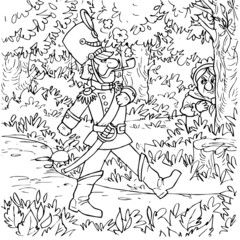 Soldier and hidden witch (fairy-tale Flint)