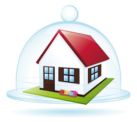 Little house under a glass bell. Protection concept.