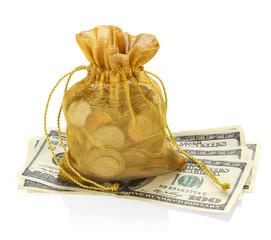Money Bag and Hundred Dollar Bills