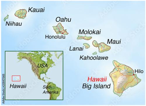 Landkarte von den Hawaii-Inseln - 20847068