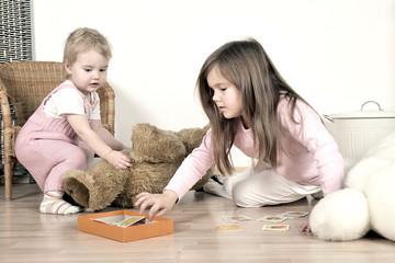 Kinder beim aufräumen